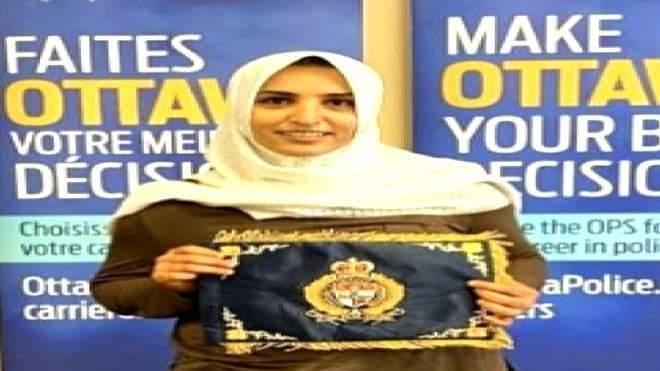 إنضمام شابة يمنية الى صفوف شرطة العاصمة الكندية أوتاوا .. صورة