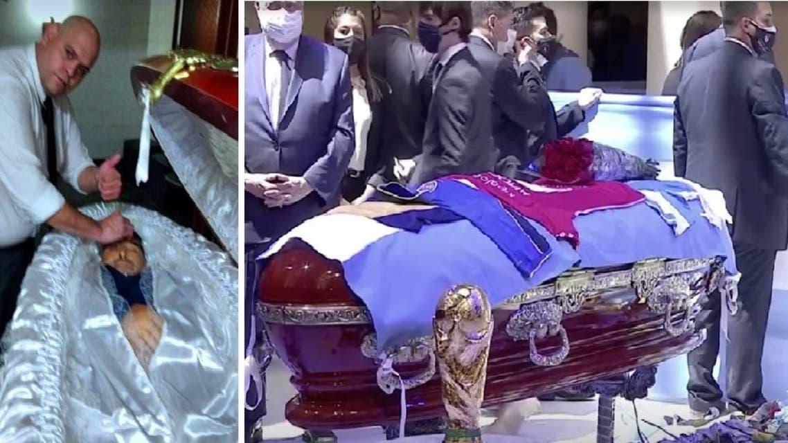 """طرد عامل جنازة من وظيفته بسبب """"سيلفي"""" مع كفن مارادونا"""